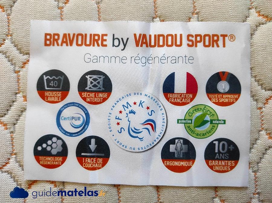 certifications et caractéristiques du matelas Bravour